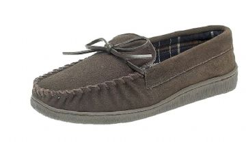 Men's Moccasin with Rubber Sole BROWN